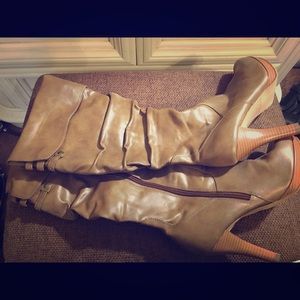 Rampage knee high boots, khaki, size 7